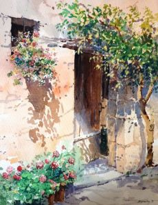 Shady Doorway. Watercolour painting