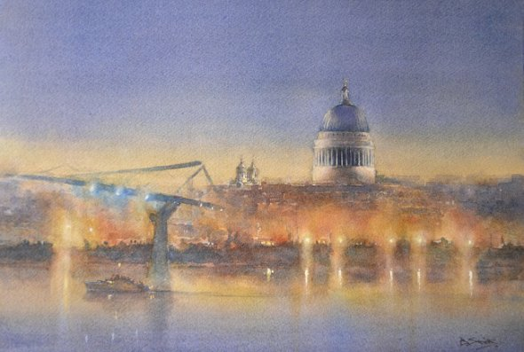 St Pauls from the South Bank (Watercolour 12in x 16in)