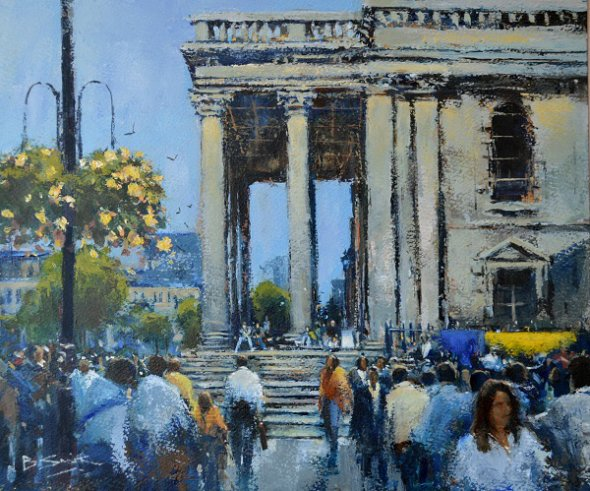 Crossing, St Martins-in-the-Fields (Acrylic) 12inx14in
