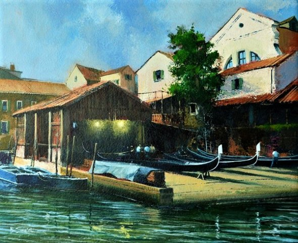 The Gondola Yard, Venice (Acrylic) 15x17in