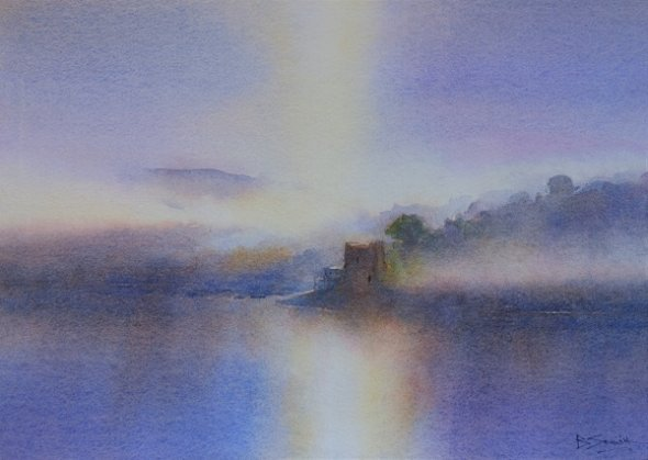 Sun and Mist, River Fowey (Watercolour) 10x13in