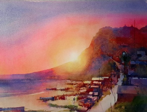 "Sunset, Budleigh Salterton (Watercolour) 12""x16"""