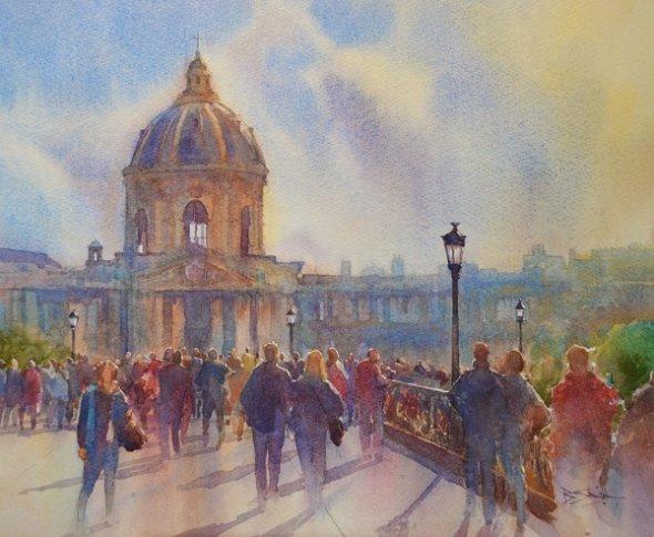 On the Pont des Arts, Paris (Watercolour) 11.5x14in