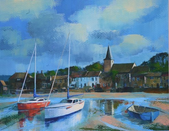 Low Tide, Bosham (Acrylic) 13x16in