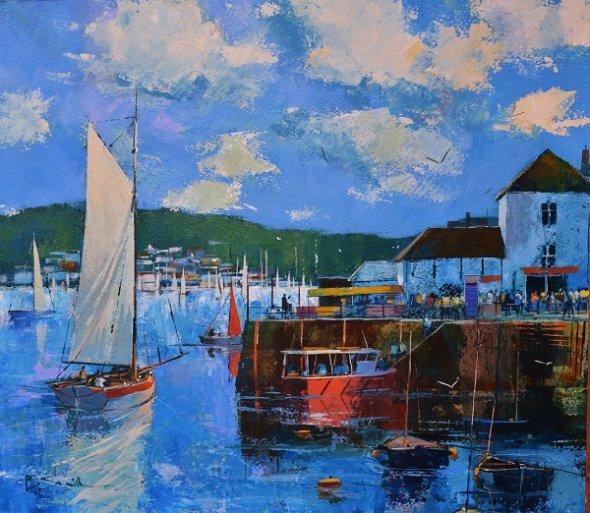Harbour Activity, Fowey (Acrylic) 16x16in