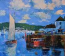 Harbour Activity, Fowey (Acrylic) 16x16in