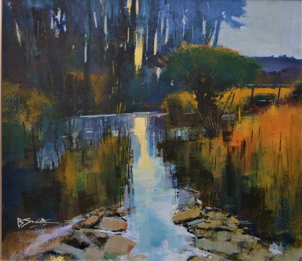 Dusk on the River Otter (Acrylic) 13x15in