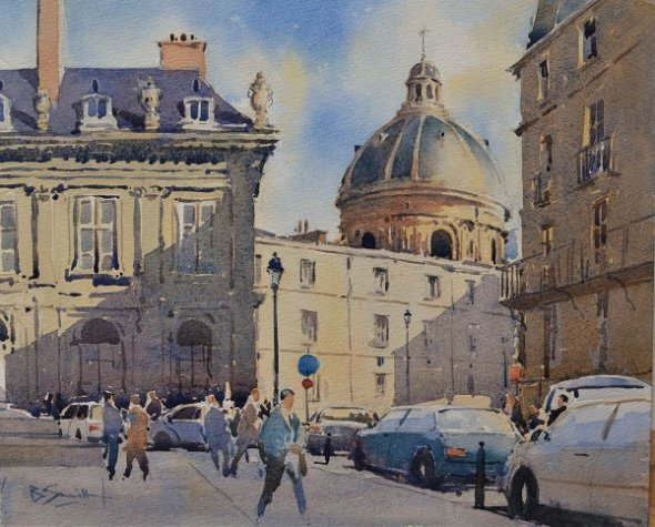 Winter Sunlight, Paris (Watercolour) 13x16in