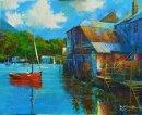 Fowey Wharves (Acrylic) 12x15in