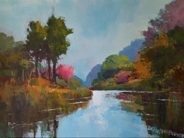 "Spring Colours, River Wey (Acrylic) 13x17.5"""