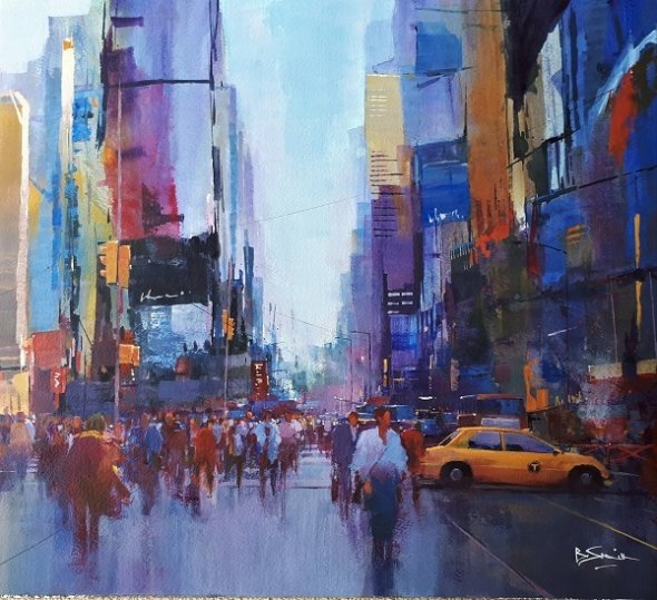 Along Broadway, NYC (Acrylic) 19x21in
