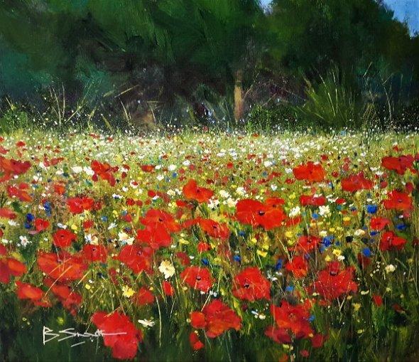 Poppy Meadow, Wisley (Acrylic) 15x17in