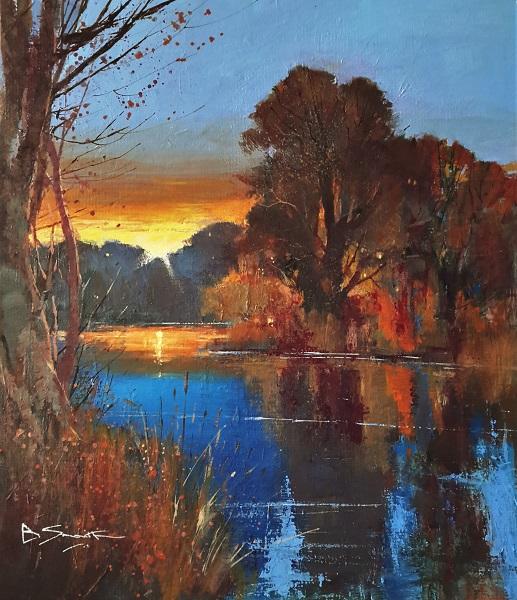 "Sunset, River Wey (Acrylic) 15x13.5"""