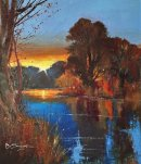 Sunset, River Wey (Acrylic) 15x13.5""