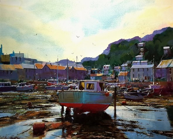 """Low Tide at Looe (Watercolour and Acrylic) 15x17.5"""""""