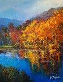 "Evening on the Lake, Winkworth (Acrylic) 17x13.5"""