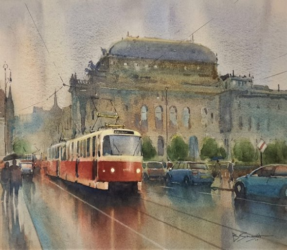 Showers in Prague (Watercolour) 13x15""