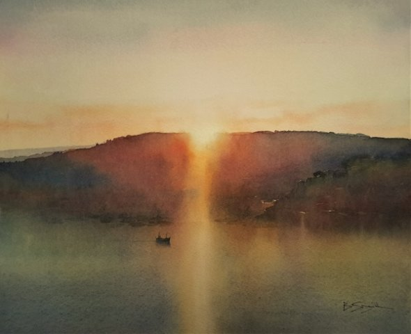 Dawn Departure, Fowey (Watercolour) 13x16in