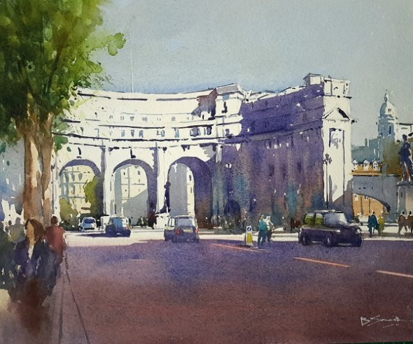Admiralty Arch (Watercolour) 13.5x16""