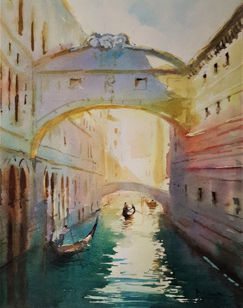 "Bridge of Sighs (Watercolour) 13x16"" (after Cecil Rice)"