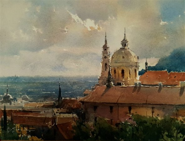 View from the Castle, Prague (Watercolour) 10x13""