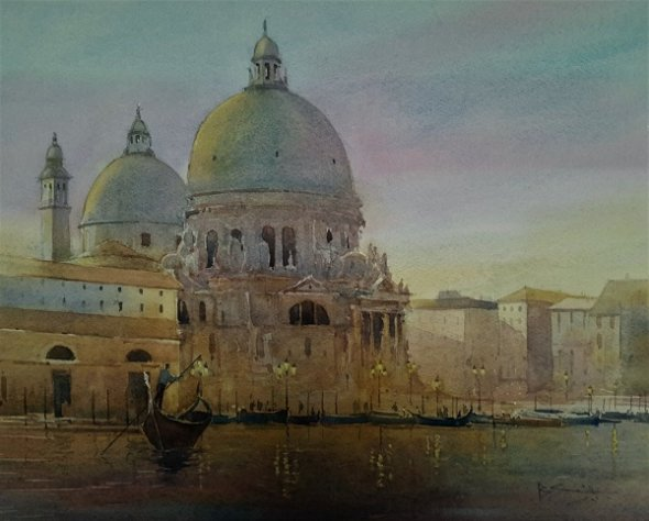 """First Light, Santa Maria (Watercolour) 13x17"""""""