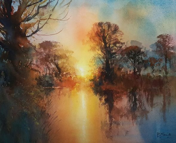 Sunset on the River Wey (Watercolour) 32x39cm