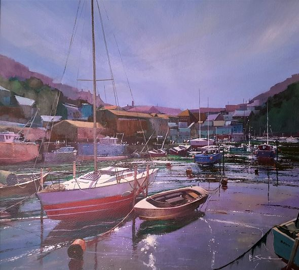 Sunlit Reflections, Looe (Acrylic) 44x49cm