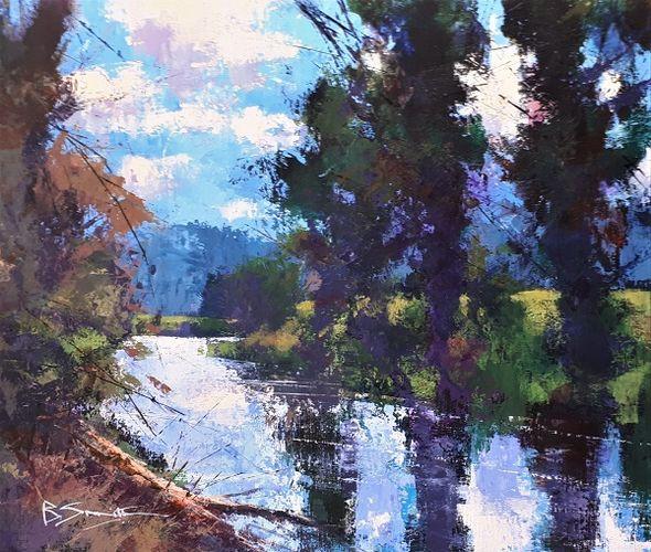 Still Morning, River Wey (Acrylic) 33x41cm