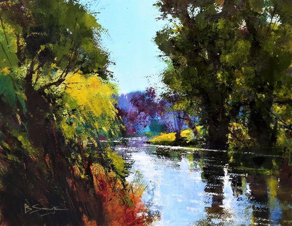 Autumn Shades, River Wey (Acrylic) 33x41cm