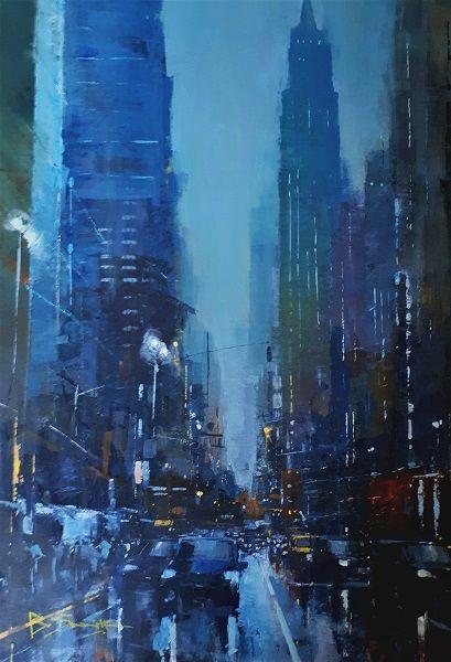 Rain in Manhattan (Acrylic) 50x35cm
