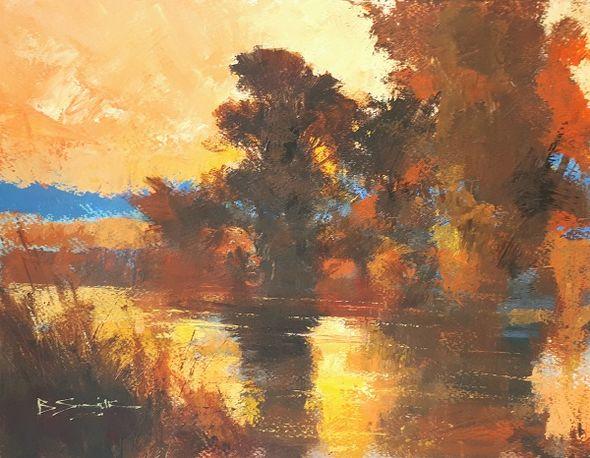 Summer Evening, River Wey (Acrylic) 33x45cm