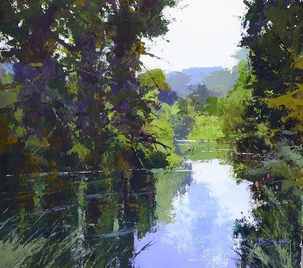 River Morning (Acrylic) 44x50cm