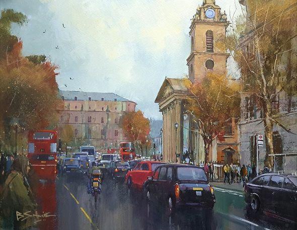 London Life, St Martin's Place (Acrylic) 33x41cm