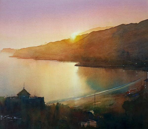 Last Light, Ventnor (Watercolour) 34x42cm
