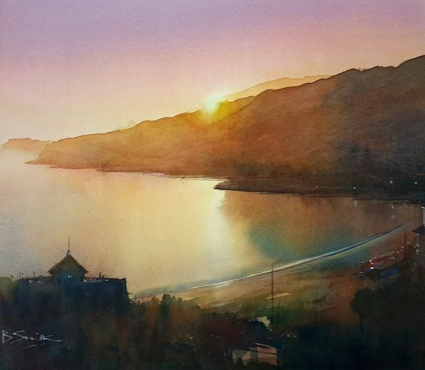 Last Light, Ventnor (Watercolour) 34x42cm