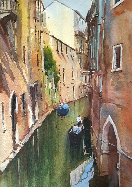 Quiet Canal, Venice (Watercolour) 50x44cm