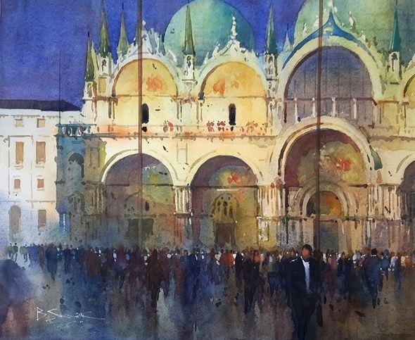 Evening Light, San Marco (Watercolour) 34x41cm