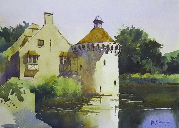 Scotney Castle (Watercolour) 26x36cm