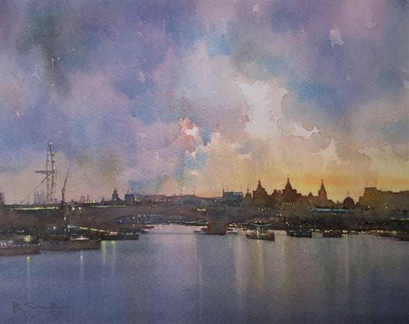 Thames Sunset (Watercolour) 34x41cm