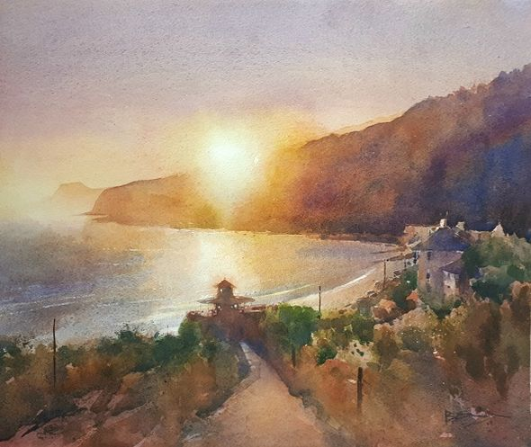 Ventnor Sunset (Watercolour) 34x42cm