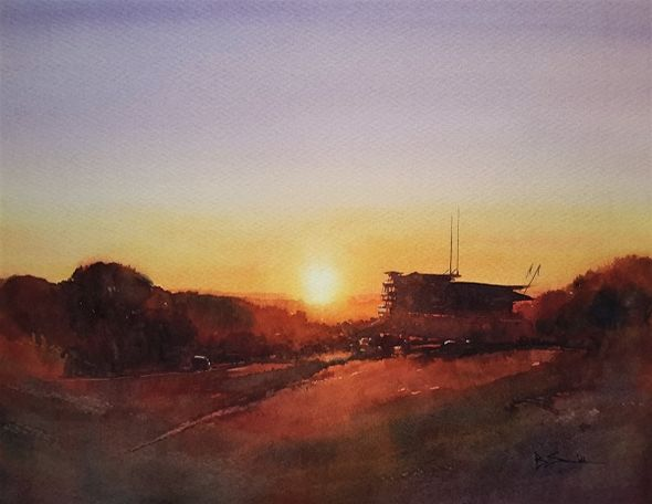 Sunset, Epsom Downs (Watercolour) 32x38cm Winner of the Leisure Painter prize at Tadworth Art Group's Winter Exhibition 2019