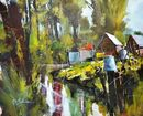 Allotments on the Tillingbourne, Shere (Acrylic) 35x43cm
