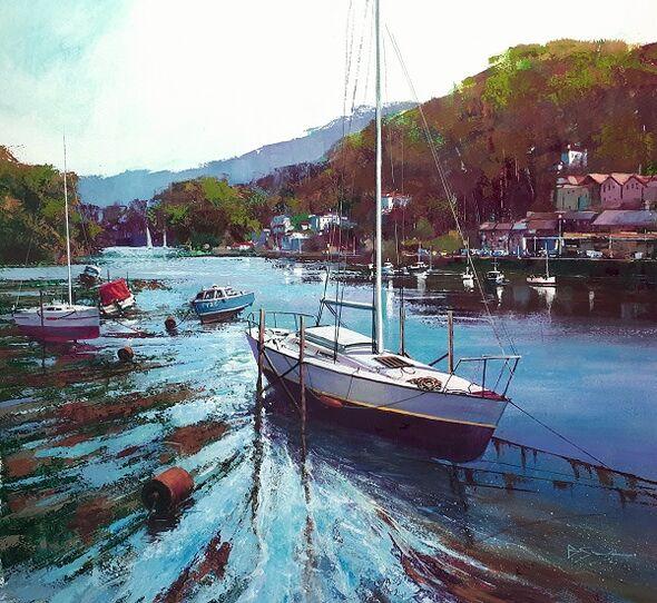 Up River, Looe (Acrylic) 50x56cm