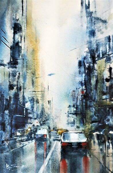 New York in Yellow and Grey (Watercolour and ink) 33x22cm