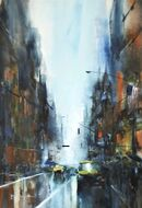 Rainy New York (Watercolour and ink) 49x34cm SOLD
