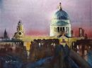 St Pauls Lit Up (Ink and Watercolour) 34x42cm