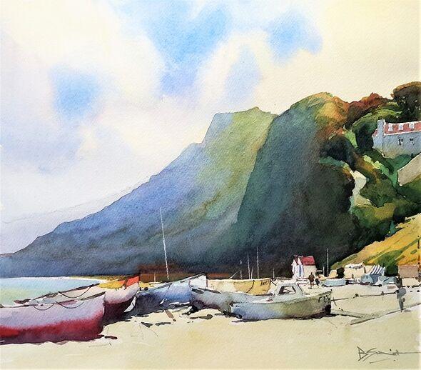 Beached Boats (Watercolour) 30x35cm