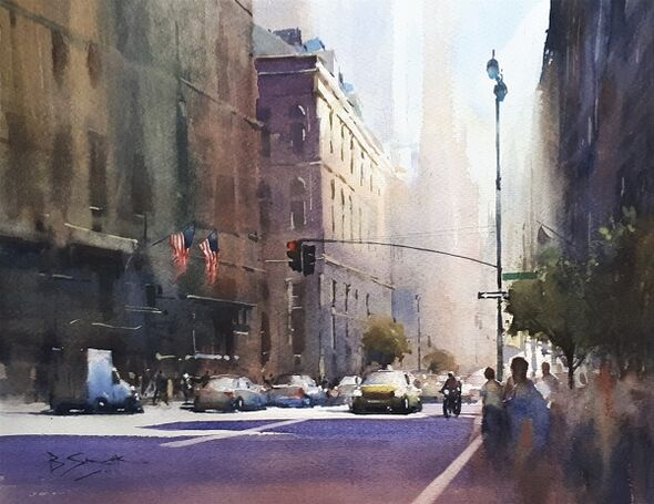Light and Shade, New York (Watercolour) 34x42cm