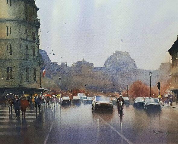 Rainy Day in Paris (Watercolour) 32x42cm